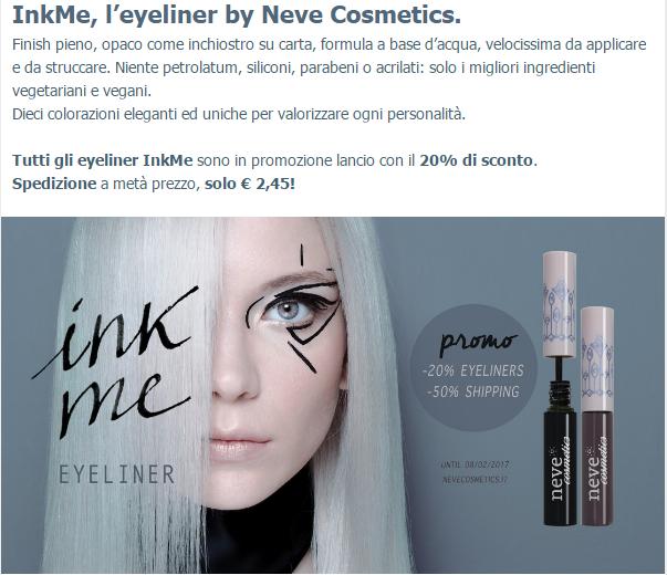 Eyeliner InkMe di Neve Cosmetics promo 20%