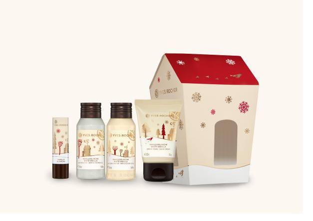 Cassetta Vaniglia Bianca regalo di Natale sotto €25 Yves Rocher, bagnodoccia, balsamo labbra, latte corpo, crema mani, mirtilla malcontenta beauty blog