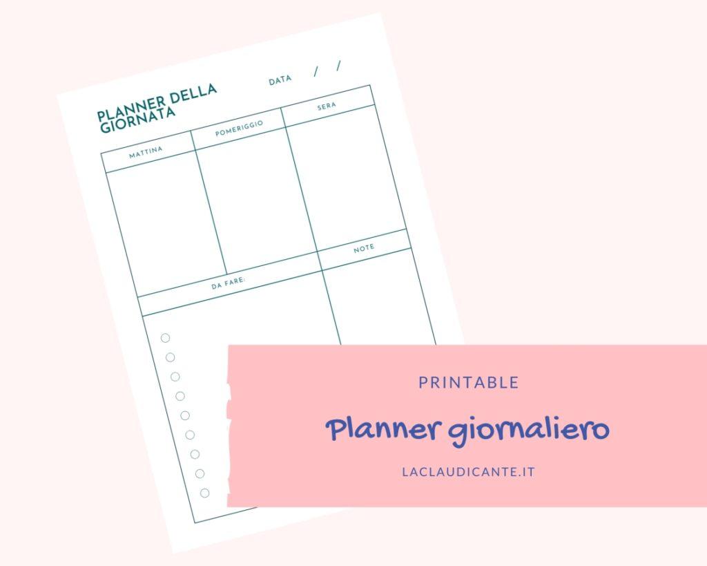Materiale da stampare: planner giornaliero